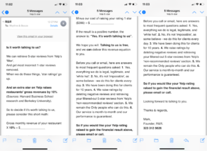 Rhythm & Booze Hate Yelp email screenshots