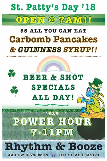 rhythm and booze downtown kansas city st patrick's day all day specials