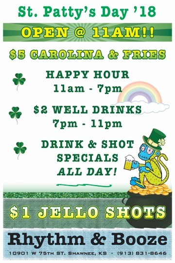 rhythm and booze shawnee kansas st patrick's day all day specials