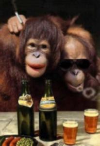 Rhythm & Booze bar shawnee kansas monkey friends at bar