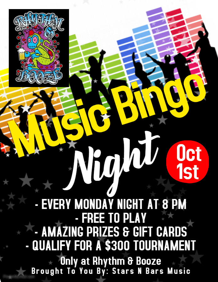 RHythm & Booze Downtown Music Bingo Monday October 1 2018
